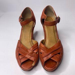 Frye Burnt Orange/Red Leather Peep Toe Platform